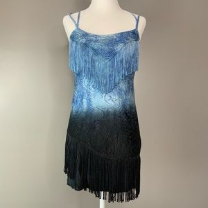 Free People boho fringed ombré lace dress